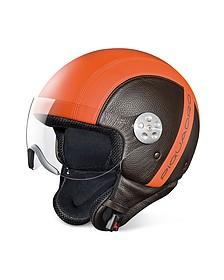 Open Face Two-tone Leather Helmet w/Visor - Piquadro