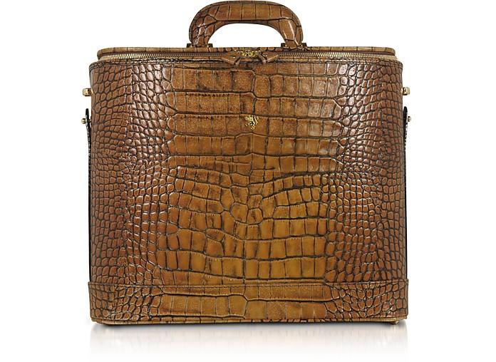 Croco Stamped Leather Laptop Business Bag w/Courtesy Light - Pratesi