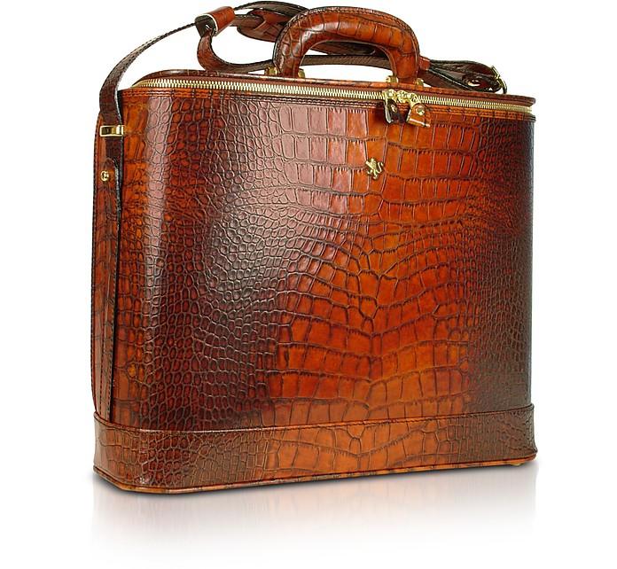 Laptop- Businesstasche aus krokogeprägtem Leder mit Courtesylight - Pratesi