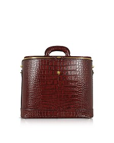Croco Stamped Leather Laptop Business Bag w/Courtesy Light - Pratesi