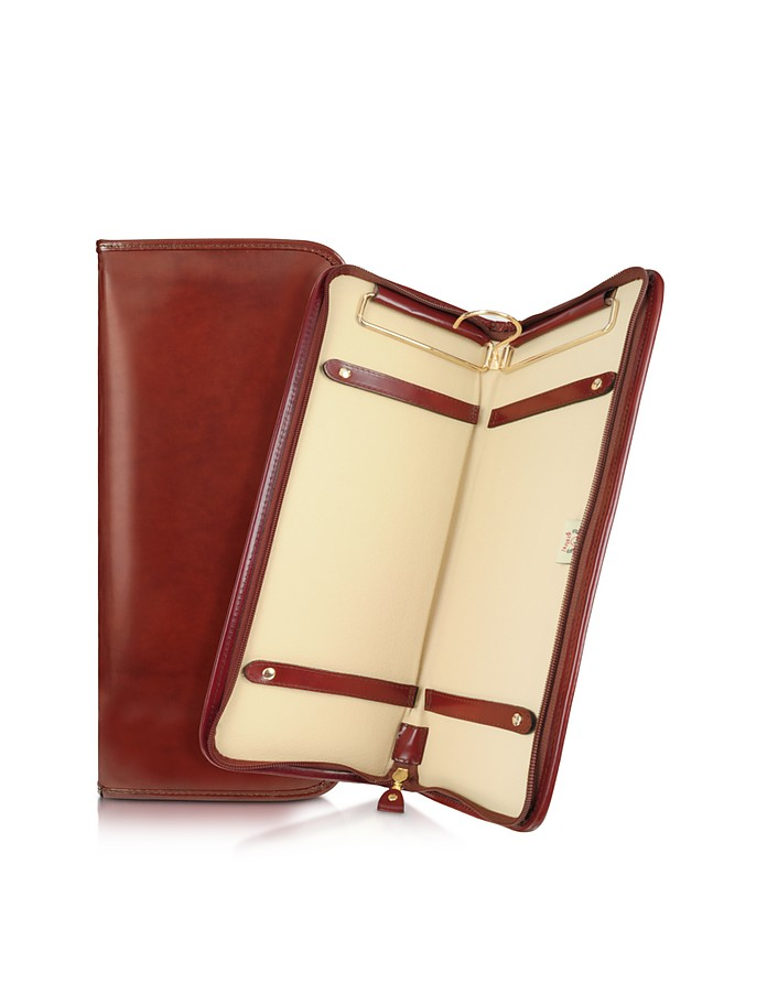Brunelleschi Dark Brown Italian Leather Tie Case - Pratesi