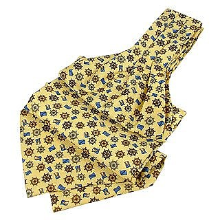 Rudder & Flag Design Ornamental Pure Silk Ascot - Forzieri