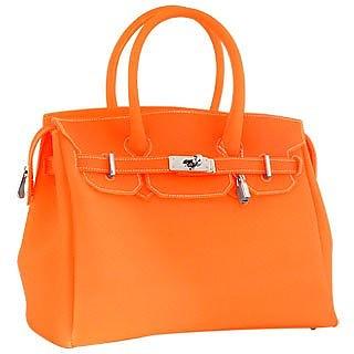 76be33e097 Forzieri Vivid Orange Italian Classic Style Jelly Bag at FORZIERI