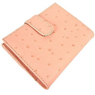 Ostrich-embossed Double Section Leather ID Wallet - Forzieri