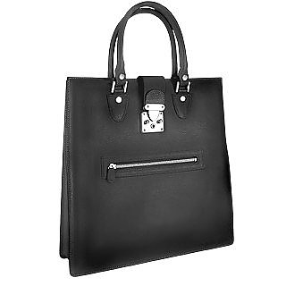 84ceacaa323 Front Zip Calf Leather Large Tote Handbag - L.A.P.A.