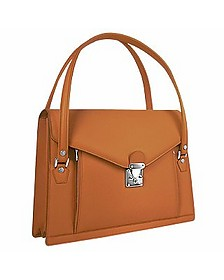 Double Compartment Calf Leather Women's Briefcase - L.A.P.A.