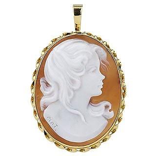 Camée broche à la jeune fille en or 750 et coquillage - Del Gatto