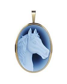 Horse Agate Stone Cameo Pendant/Pin - Del Gatto