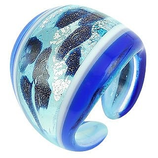Cuba - Blue and White Murano Glass Ring - Antica Murrina