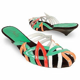 Multicolor Cut-out Patent Leather Slide Shoes  - Amaltea