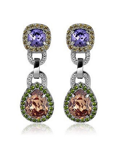 Purple & Orange Clip-On Earrings - AZ Collection