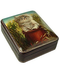 Persian Kitty - Oil on Leather Jewelry Box - Bianchi Arte