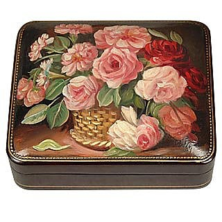 Flower Bouquet - Oil on Leather Jewelry Box - Bianchi Arte
