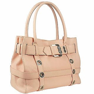 Pink Embossed Leather Buckled Satchel Bag - Buti