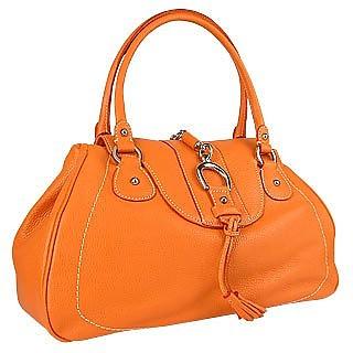 Orange Pebble Italian Leather Horsebit Flap Handbag - Buti