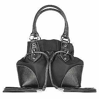 Black Nylon and Leather Mini Bucket Bag - Buti