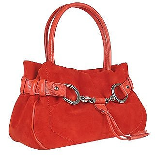 Horsebit Red Italian Suede and Leather Satchel Bag - Buti