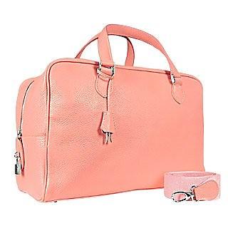 Pink Soft Calf Leather Medium Travel Bag - Buti