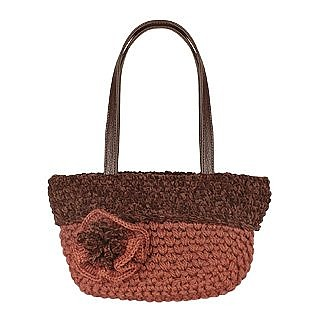 Brown Italian Handmade Knit Wool Handbag w/Flower - Forzieri