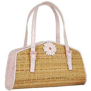 Capaf Baby Pink Flower Wicker & Leather Bag    - Forzieri