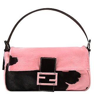 Fendi Pink Cow Baguette Handbag at FORZIERI e4740e43ee5cc