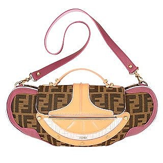 Vanity Zucca Canvas and Leather Clutch/ Shoulder Bag - Fendi