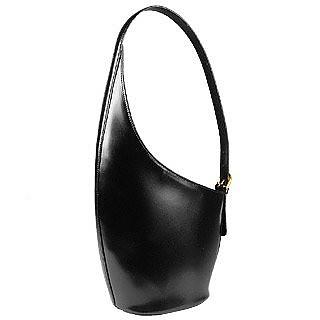 Striking Black Italian Leather Handbag - Fontanelli