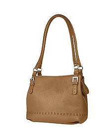 Tan Brown Stiched Soft Leather Handbag - Fontanelli