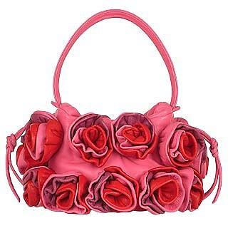Hot Pink & Red Handmade Rose Bouquet Italian Leather Handbag - Fontanelli