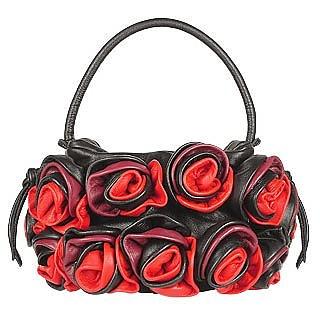 Black & Red Handmade Rose Bouquet Italian Leather Handbag - Fontanelli