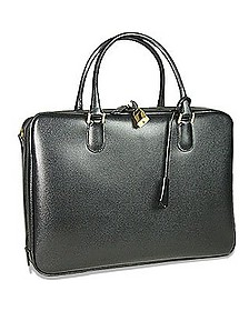 Black Lizard-print Calf Leather Briefcase - Fontanelli