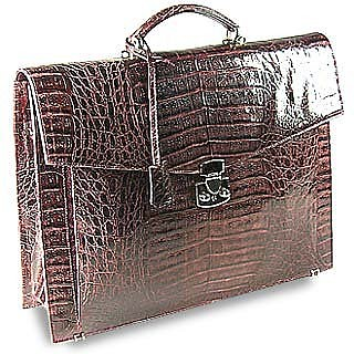 Brown Croc-Embossed Leather Briefcase - Fontanelli