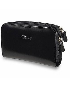 Black Polished Calf Leather Zip Wallet - Fontanelli