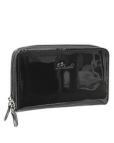 Black Patent Leather Zip Wallet - Fontanelli