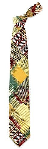 Cream and Burgundy Patchwork  Woven Silk Tie  - Forzieri