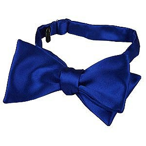 Blue Solid Silk Self-tie Bowtie - Forzieri