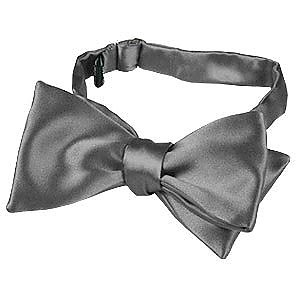 Dark Gray Solid Silk Self-tie Bowtie - Forzieri