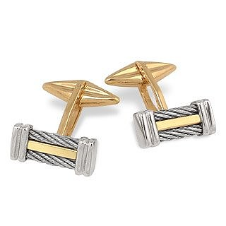 Di Fulco Line Gold and Stainless Steel Cufflinks  - Forzieri