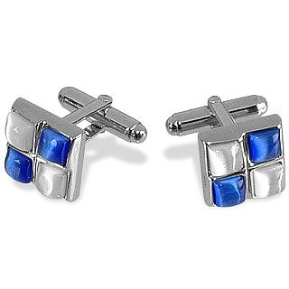 Blue and White Stones Silver Plated Cuff Links - Forzieri