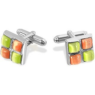 Yellow and Orange Stones Silver Plated Cuff Links - Forzieri