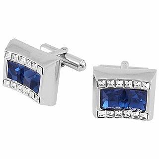 Manschettenknöpfe aus blauem viereckigem Stein mit Swarovski-Kristallen - Forzieri