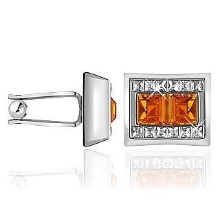 Manschettenknöpfe mit orangefarbenen Edelsteinen und Kristallen - Forzieri