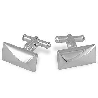 Sterling Silver Rectangular Cuff Links - Forzieri