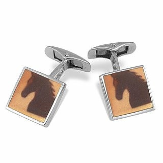 DiFulco Square Sterling Silver Cufflinks with Horse  - Forzieri