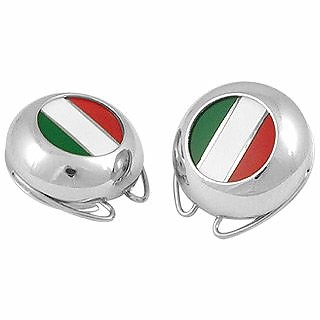 Italian Flag Silver Plated Button Covers - Forzieri