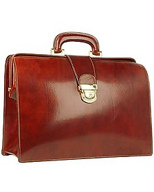 Cognac Italian Leather Buckled Medium Doctor Bag - Forzieri