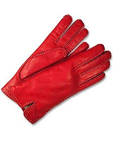 Women's Stitched Silk Lined Red Italian Leather Gloves - Forzieri