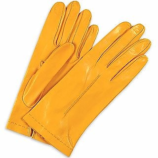Women's Ocher Unlined Italian Leather Gloves - Forzieri