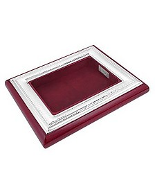 Chiselled Sterling Silver & Mahogany Wood Jewelry Tray - Forzieri
