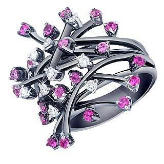 a basso prezzo f23a8 2cdc6 Anello in oro nero 18ct con diamanti e zaffiri